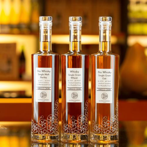 Bio Whisky Single Malt Barley, Whisky Single Grain Wheat, Bio Whisky Single Grain Oat