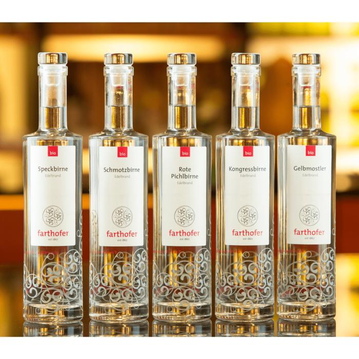 Destillerie Farthofer - Speckbirne-Schmotzbirne-Rote-Pichlbirne-Kongressbirne-Gelbmostler