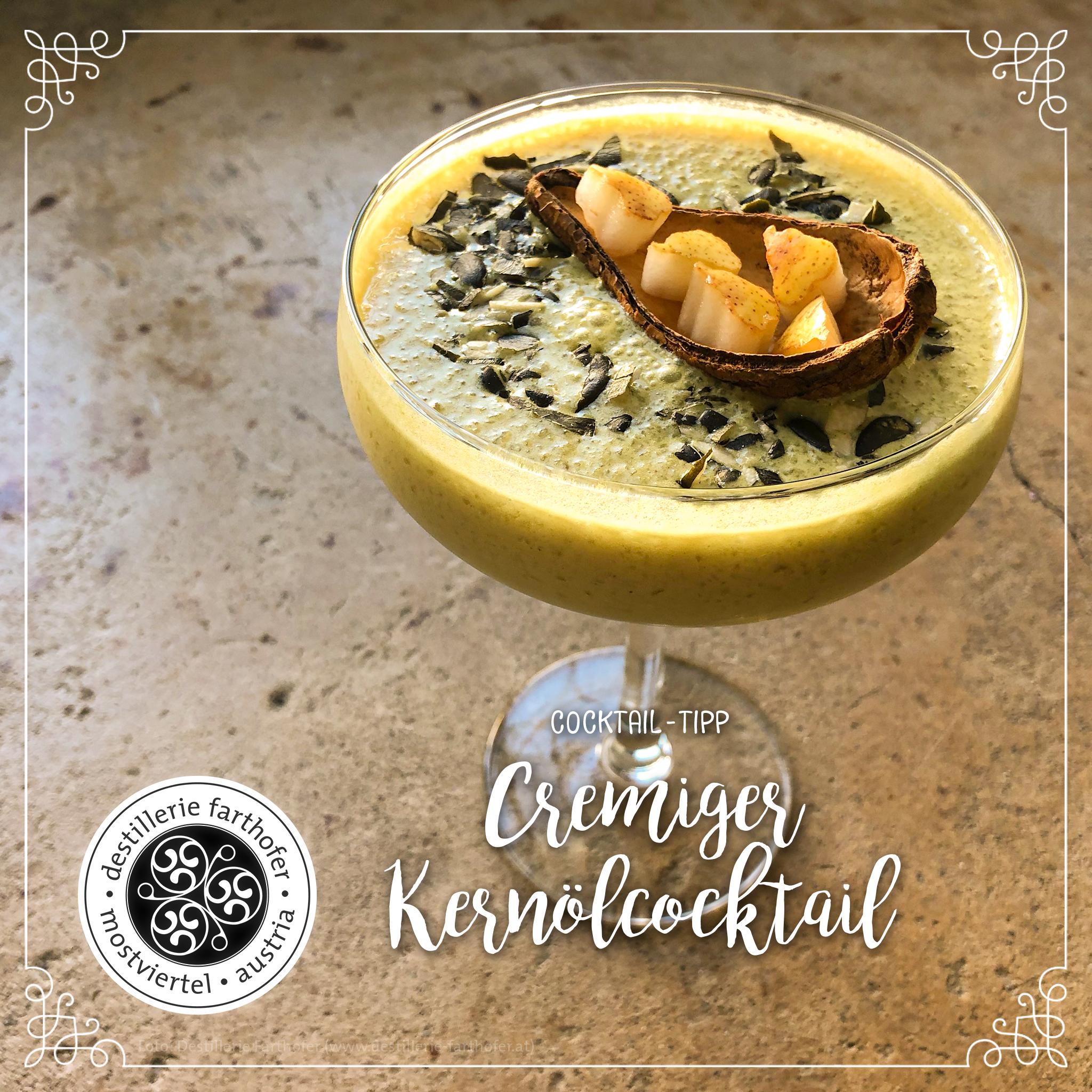 Rezept - Cocktail - Cremiger Kernölcocktail - Destillerie Farthofer