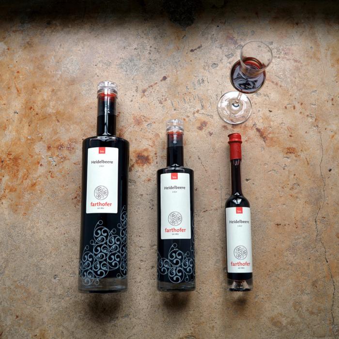 Bio Heidelbeerlikör (700, 350 und 100 ml) - Destillerie Farthofer
