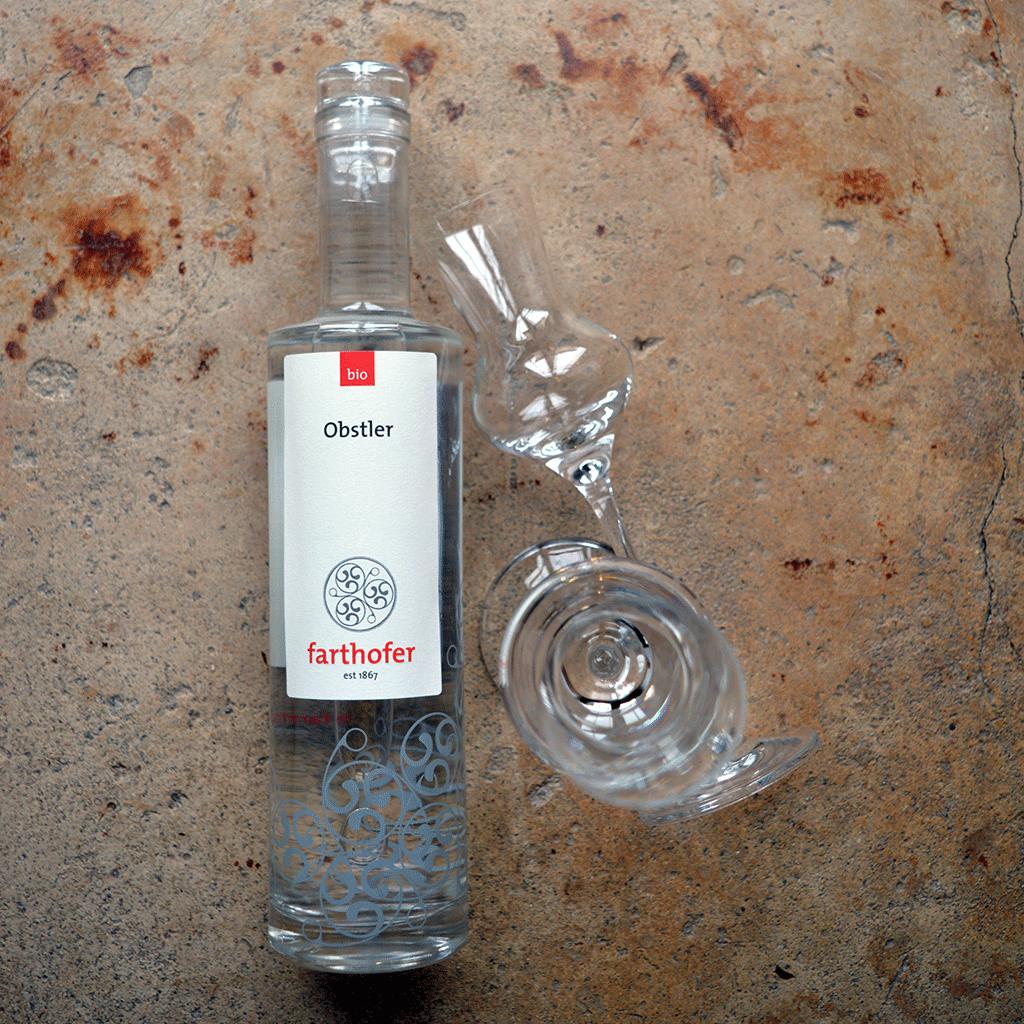 Bio Obstler (700 ml) von oben - Destillerie Farthofer