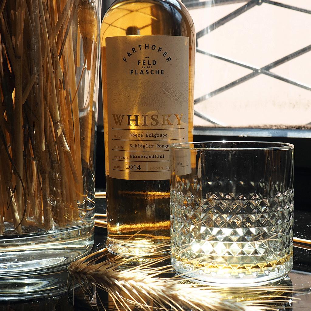 Schlaegler Roggen Urgetreide Whisky 40 % mit Glas - Destillerie Farthofer