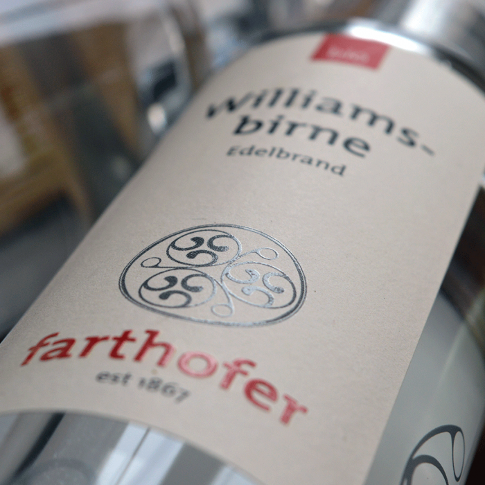 Bio Williamsbirne (700 und 350 ml) Flasche - Destillerie Farthofer